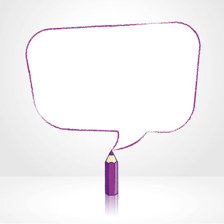 pale background: Purple Pencil with Reflection Drawing Smooth Skewed Rectangular Shaped Speech Bubble on Pale Background