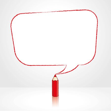 pale background: Red Pencil with Reflection Drawing Smooth Skewed Retangle Shaped Speech Bubble on Pale Background