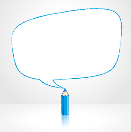 pale background: Blue Pencil with Reflection Drawing Irregular Shaped Speech Bubble on Pale Background