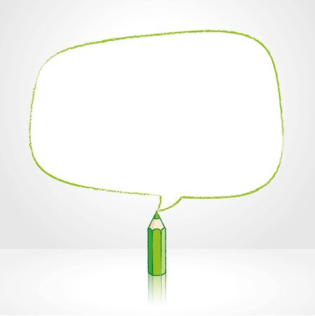 pale background: Green Pencil with Reflection Drawing Smooth Irregular Shaped Speech Bubble on Pale Background