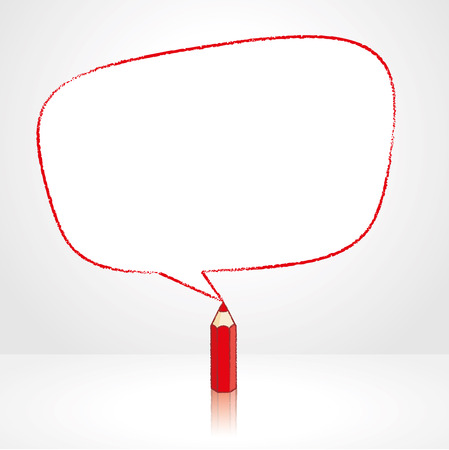 pale background: Red Pencil with Reflection Drawing Smooth Irregular Shaped Speech Bubble on Pale Background Illustration