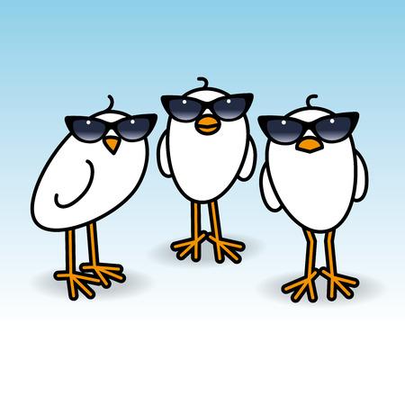 gazing: Three Small Cute White Chicks wearing Retro Ladies Sunglasses Staring towards camera on Blue Background Illustration