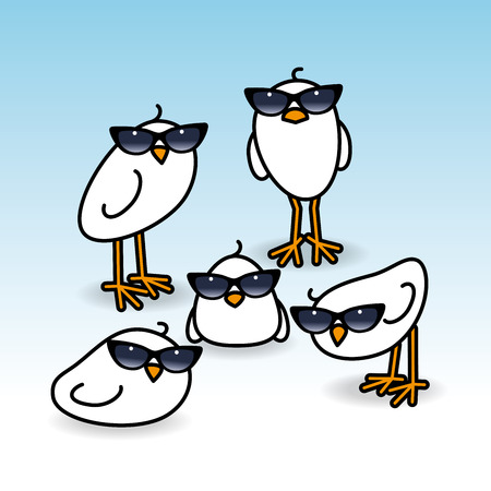 chicks: Five Small Cute White Chicks wearing Retro Ladies Sunglasses Staring towards camera on Blue Background Illustration