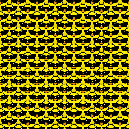 chicks: Many Identical Yellow Chicks Wearing Cool Retro Ladies Style Sunglasses Staring at camera in a Pattern Illustration