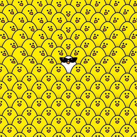 pollitos: Individual polluelo blanco desgastando fresco gafas de sol retras de las señoras Rodeado de Repetición Polluelos amarillos con un poco de mirar fijamente en su dirección Vectores