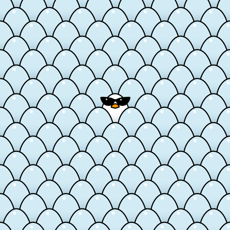 vulnerable: Single Cool White Chick Wearing Ladies Retro Style Sunglasses Surrounded by Identical Blue Eggs Illustration