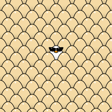 vulnerable: Single Cool White Chick Wearing Ladies Retro Style Sunglasses Surrounded by Identical Brown Eggs Illustration