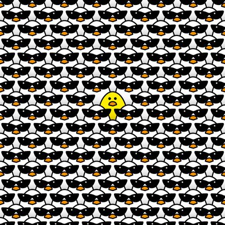 identical: One Yellow Chick Surrounded by many identical White Chicks wearing Cool Retro Ladies Style Sunglasses Staring at camera in a Pattern Illustration