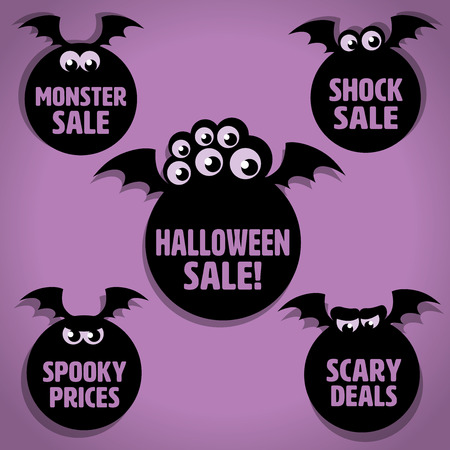 Five Scary Black Flying Little Monster Halloween Sale Icons on Purple background Illustration
