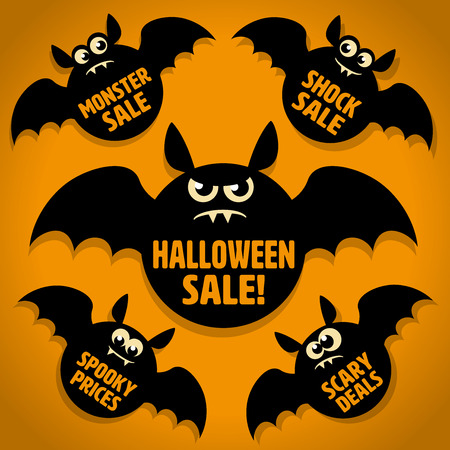 Five Scary Little Black Bat Halloween Sale Icons on Orange background