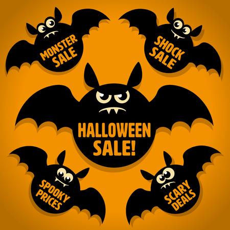 Vijf Scary Little Black Bat Halloween Sale pictogrammen op Oranje achtergrond