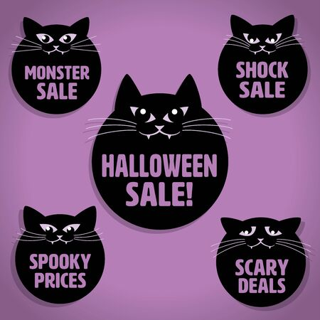 whiskers: Five Scary Black Little Cats with Whiskers Halloween Sale Icons on Purple background Illustration