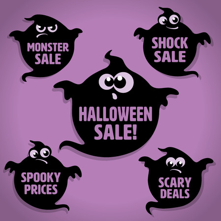 Five Scary Black Little Ghost Halloween Sale Icons on Purple background