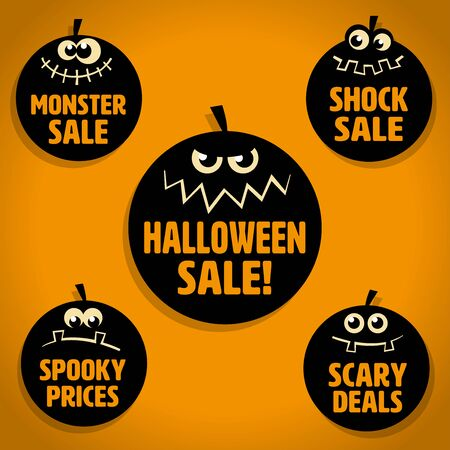 Five Scary Black Little Pumpkin Halloween Sale Icons on Orange background