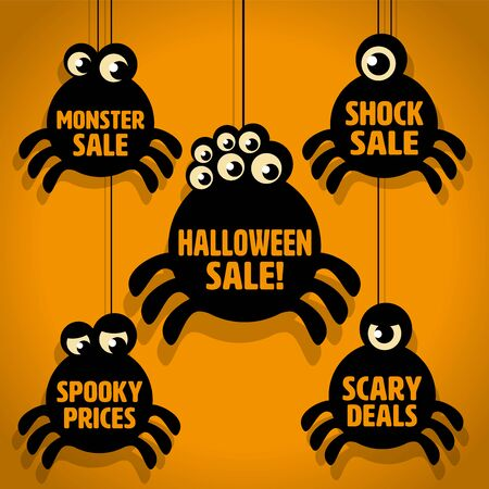 spooky eyes: Five Scary Black Little Spider Halloween Sale Icons on Orange background Illustration