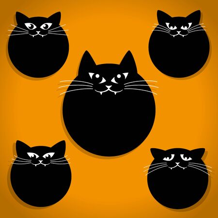 Five Scary Black Little Cats with Whiskers Halloween Icons on Orange background