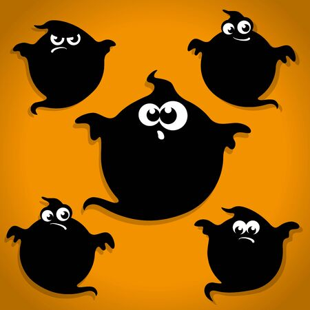 the spectre: Five Scary Black Little Ghost Halloween Icons on Orange background