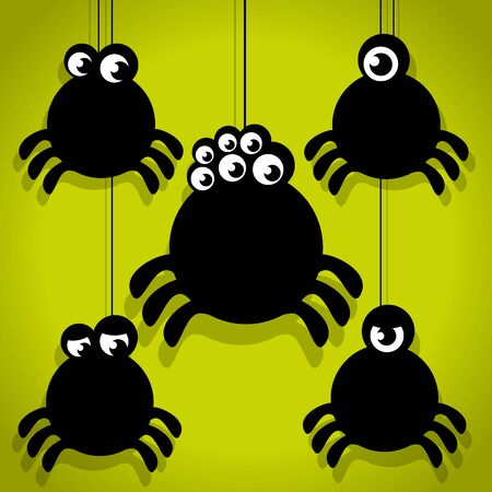 Five Scary Black Little Spider Halloween Icons on Green background