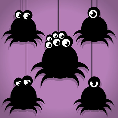 spiky: Five Scary Black Spiky Little Spider Halloween Icons on Purple background Illustration