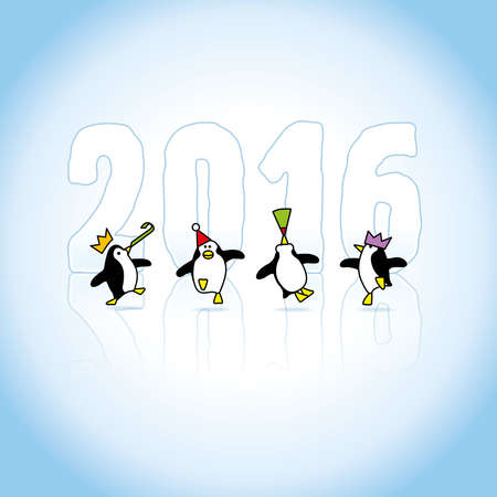 Four Happy Party Penguins Dancing in front of Year 2016 made in Ice Vector