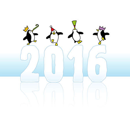 Four Happy Party Penguins Dancing on top of Year 2016 made in Ice Vector