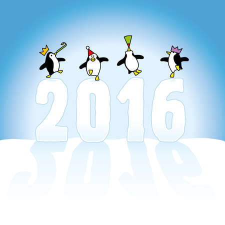 Four Happy Party Penguins Dancing on top of Year 2016 made in Snow on Blue Horizon Vector