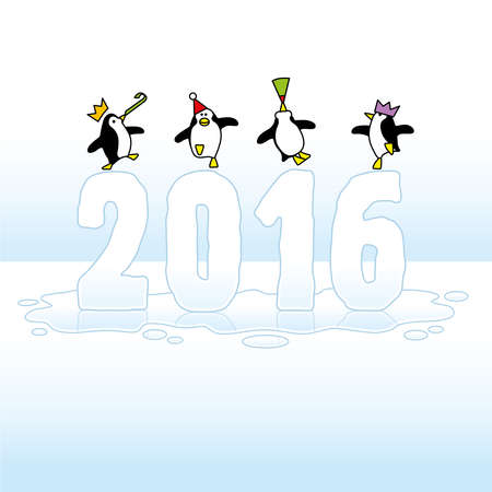 Four Happy Party Penguins Dancing on top of melting Year 2016 made in Ice on Blue Horizon Vector