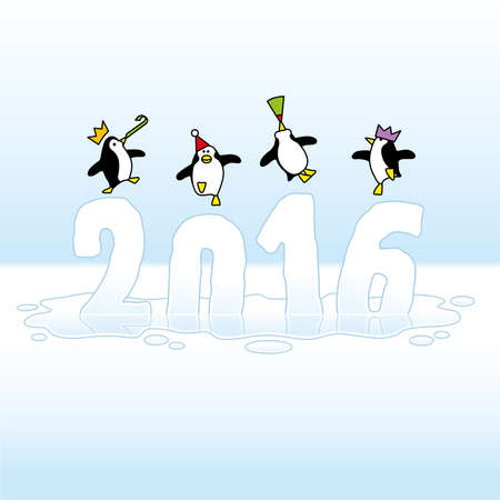 Four Happy Party Penguins Dancing on top of melting Year 2016 made of Ice Vector