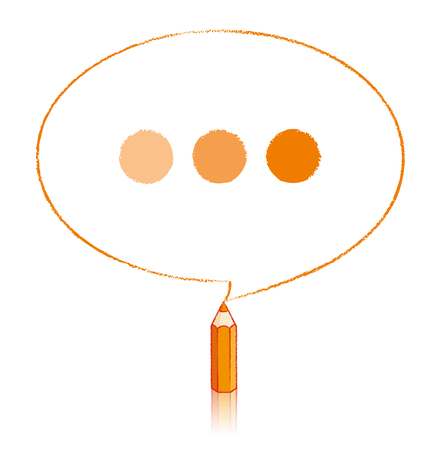 tinted: Orange Pencil with Reflection Drawing Oval Speech Bubble containing Tinted Ellipsis on White Background