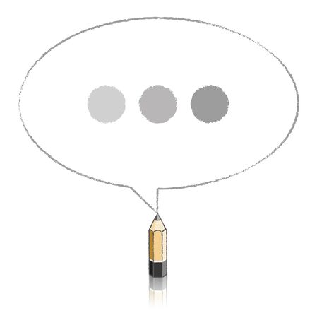 tinted: Lead Wood Pencil with Reflection Drawing Oval Speech Bubble containing Tinted Ellipsis on White Background