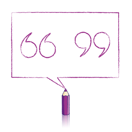 Purple Pencil with Reflection Drawing Outlined Quotation Marks in Rectangular Speech Bubble on White Background