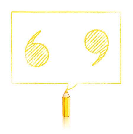 speech marks: Yellow Pencil with Reflection Drawing Shaded Quotation Marks in Rectangular Speech Bubble on White Background