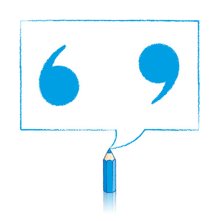 speech marks: Blue Pencil with Reflection Drawing Solid Quotation Marks in Rectangular Speech Bubble on White Background