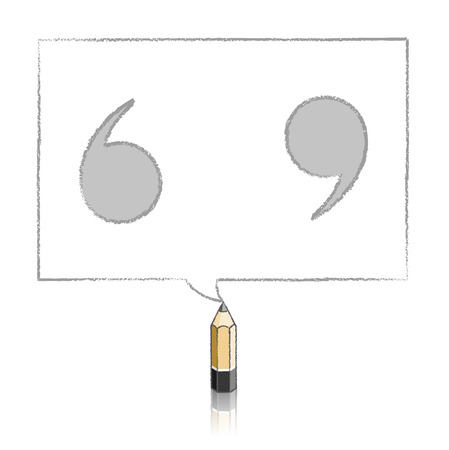 tinted: Wooden Lead Pencil with Reflection Drawing Tinted Quotation Marks in Rectangular Speech Bubble on White Background Illustration