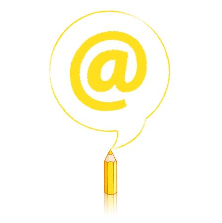 upright: Yellow Pencil with Reflection Drawing a solid At sign in Round Speech Bubble on White Background