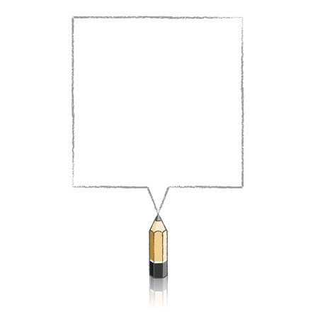 Wooden Lead Pencil with Reflection Drawing Grey Square Speech Bubble on White Background Vector