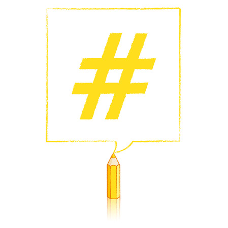 tweet balloon: Yellow Pencil with Reflection Drawing Hashtag in Square Speech Bubble on White Background Illustration
