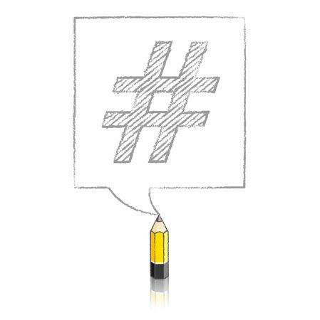 tweet balloon: Wooden Yellow Lead Pencil with Reflection Drawing Shaded Hashtag in Square Speech Bubble on White Background Illustration