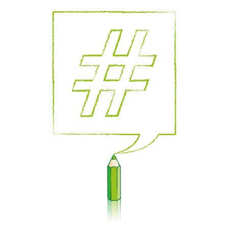 tweet balloon: Green Pencil with Reflection Drawing Outlined Hashtag in Square Speech Bubble on White Background Illustration