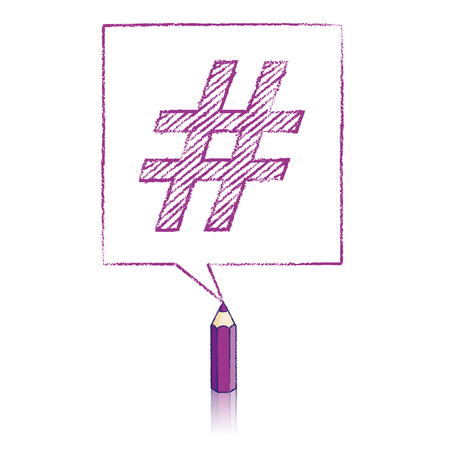 tweet balloon: Purple Pencil with Reflection Drawing Shaded Hashtag in Square Speech Bubble on White Background