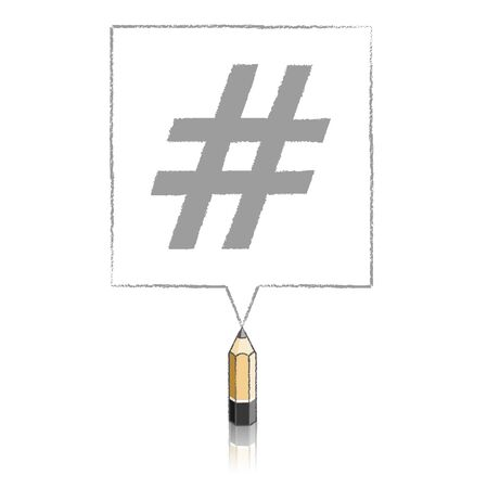 tweet balloon: Wooden Lead Pencil with Reflection Drawing Hashtag in Square Speech Bubble on White Background Illustration