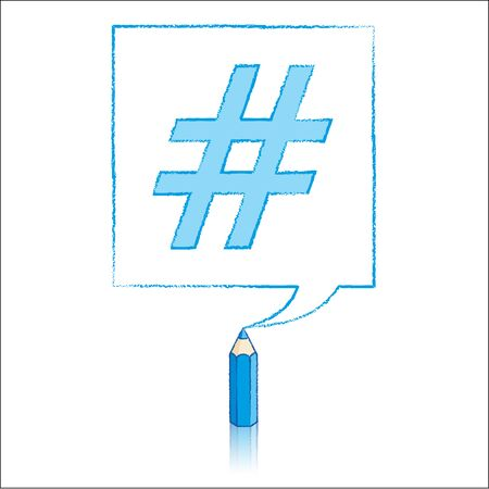 tweet balloon: Blue Pencil with Reflection Drawing Hashtag in Square Speech Bubble on White Background Illustration