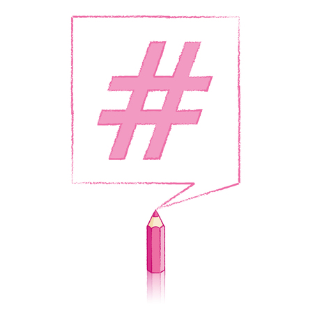 tweet balloon: Pink Pencil with Reflection Drawing Hashtag in Square Speech Bubble on White Background