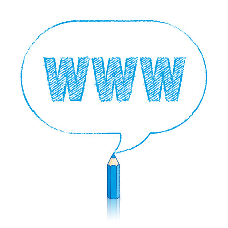 oblong: Blue Pencil with Reflection Drawing Worldwide Web Acronym in Rounded Oblong Speech Bubble on White Background Illustration