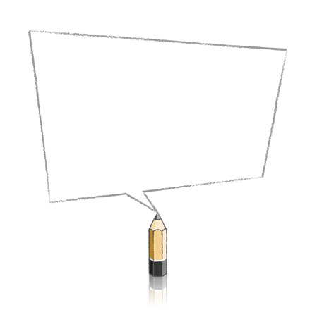 skewed: Wooden Lead Pencil with Reflection Drawing Skewed Rectangular Shaped Speech Bubble on White Background