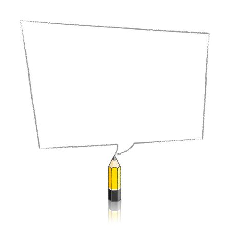 skewed: Lead Yellow Pencil with Reflection Drawing Skewed Rectangular Shaped Speech Bubble on White Background Illustration