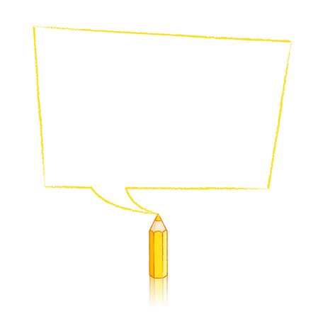 skewed: Yellow Pencil with Reflection Drawing Skewed Rectangular Shaped Speech Bubble on White Background