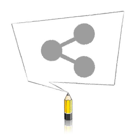 skewed: Lead Yellow Pencil with Reflection Drawing Digital Share Icon in Skewed Rectangular Speech Bubble on White Background
