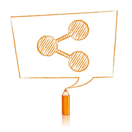 skewed: Orange Pencil with Reflection Drawing Digital Share Icon in Skewed Rectangular Speech Bubble on White Background