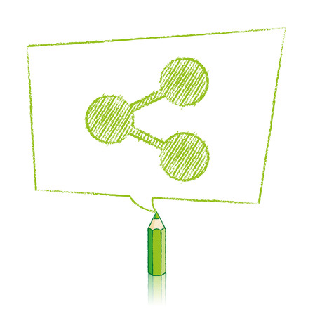 skewed: Green Pencil with Reflection Drawing Digital Share Icon in Skewed Rectangular Speech Bubble on White Background Illustration